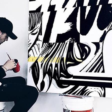 Nairone, artiste, toile, canvas, noir et blanc