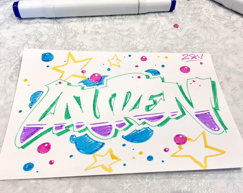 graffiti, Zadig et Voltaire, sketch, street art, couleurs marqueur