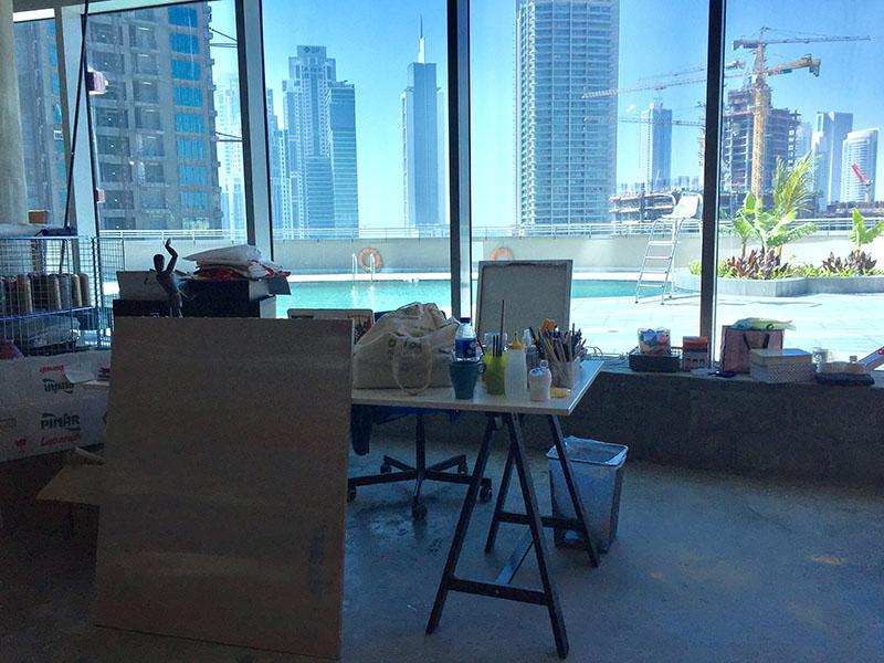 Piscine, terrasse, art, artistes, Blue Cave 7, Dubai