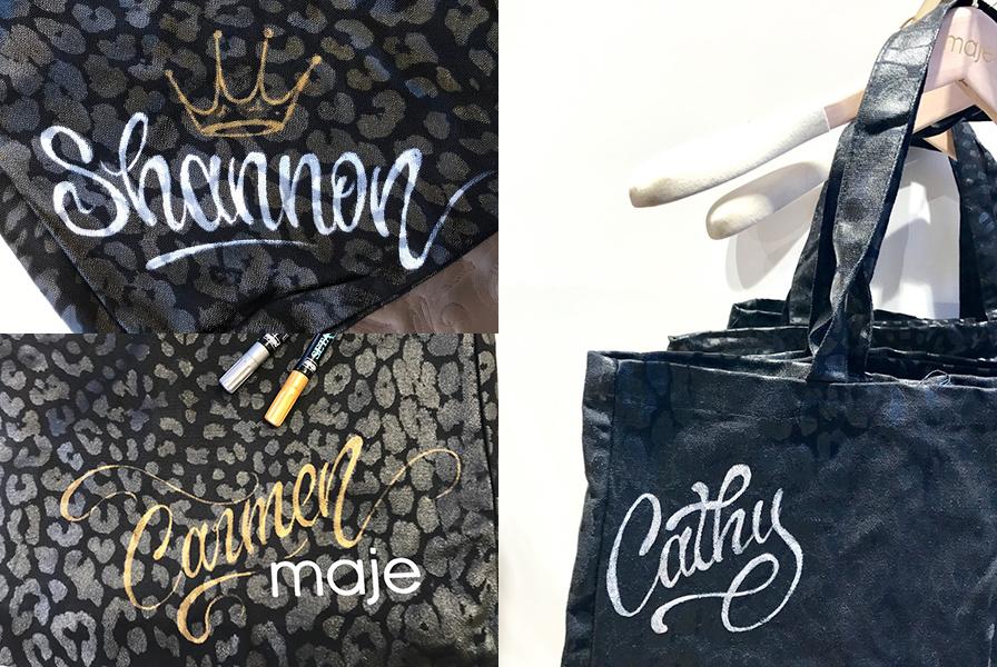 prénoms calligraphié sur des shopping bag tote bag Maje