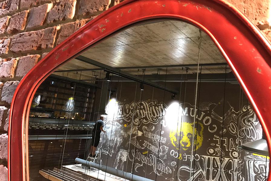 Miroir, reflet, restaurant, mur, Maroc, fresque, peinture à la main, Colombus