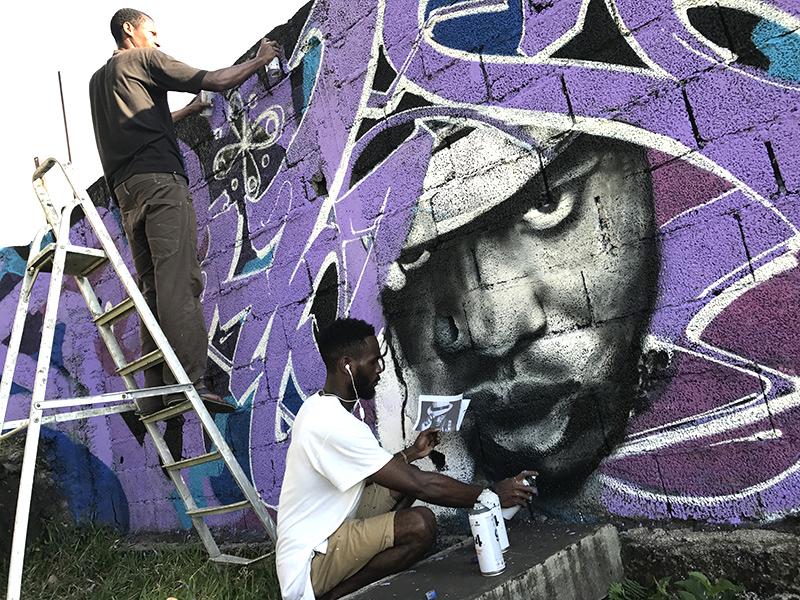 graffeurs comorien, action, mur, rue