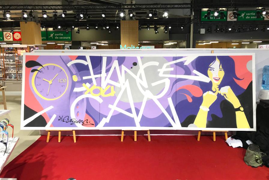Ice Watch montre fresque graffiti réalisé par un Street artiIce
