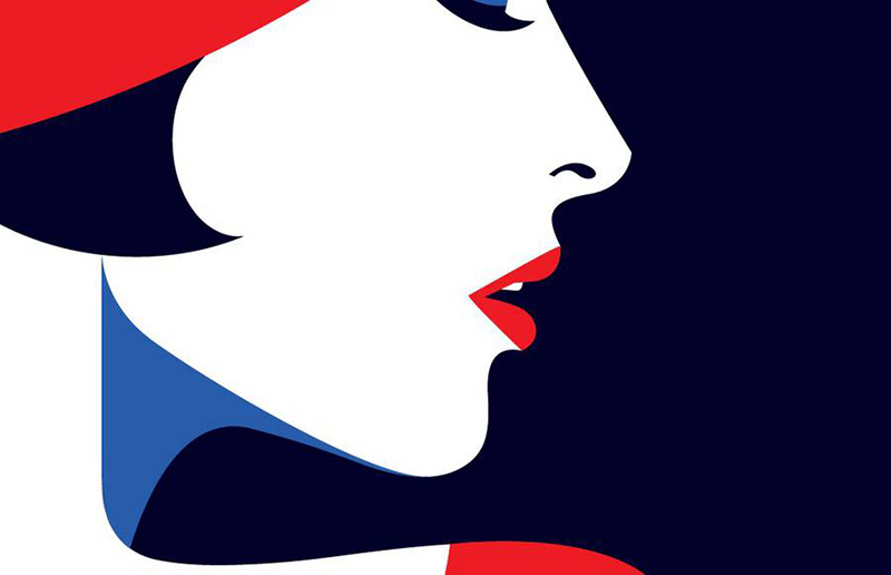 Détail, visage, femme , profil, illustration