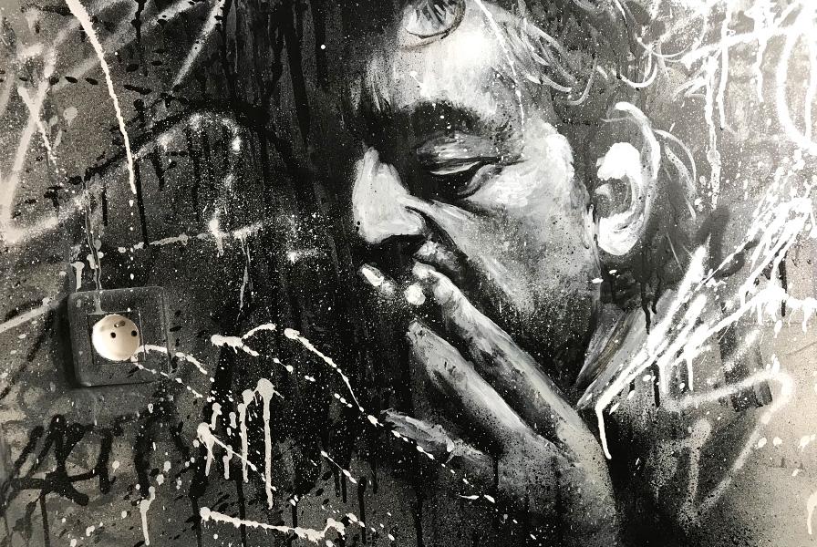 portrait, graffiti, serge, gainsbourg, art, noir et blanc