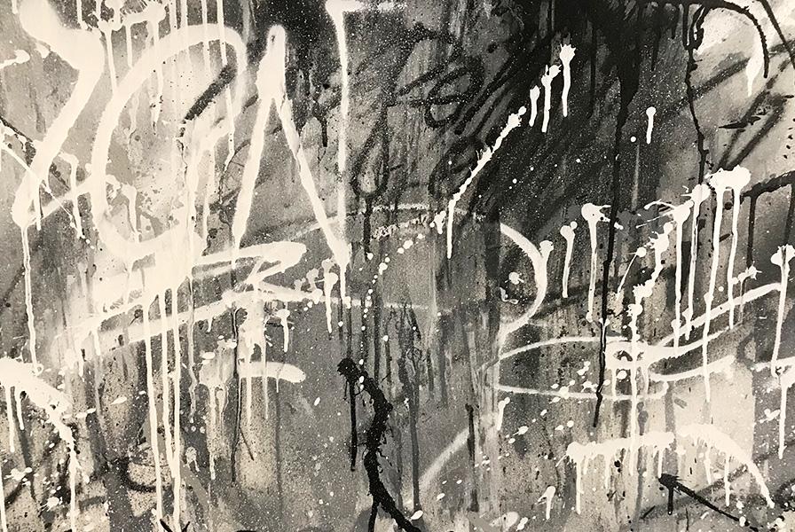 fresque, textures, noir et blanc, coulures, taches