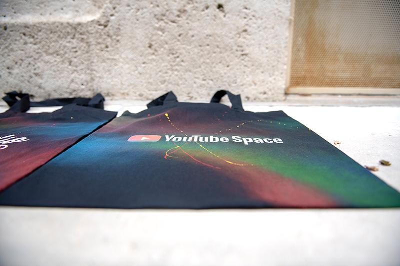 Youtube, space, tote bags, art, personnalisation, paris, soirée, lancement