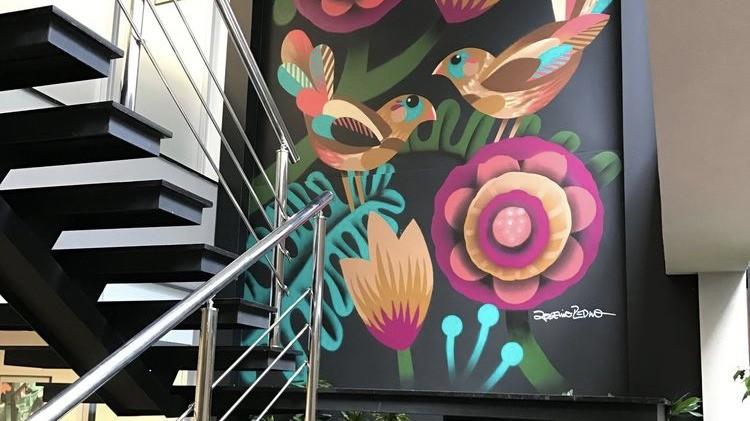Décoration, escaliers, bureau, open space, art, figuratif