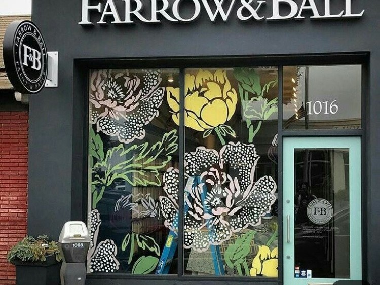 illustration, vitrine, Farrow&Ball, décoration, magasin, boutique
