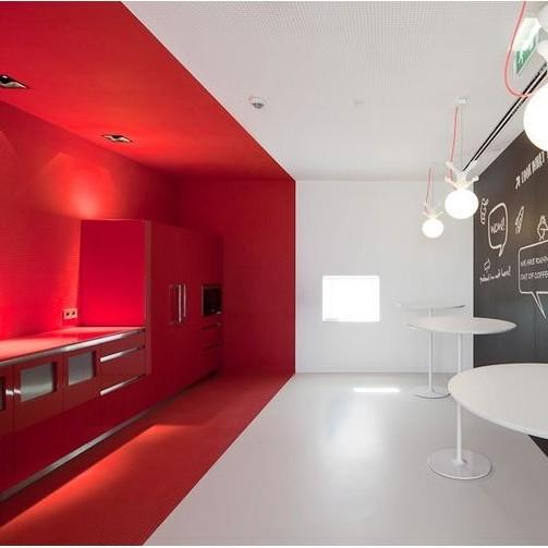 cafeteria,décoration, minimaliste, art, artist, design, rouge, épuré