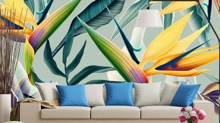 Feuilles tropicale, papier peint, chaleur, tropiques, couleurs, salon