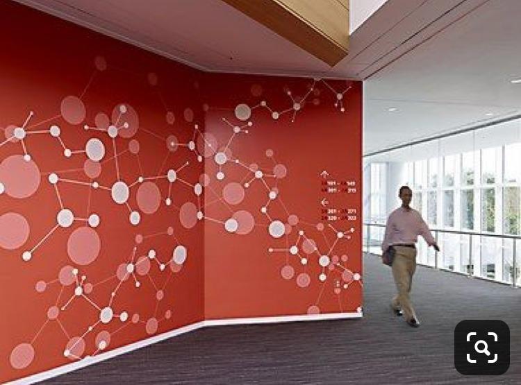 mur, rouge, formes, organiques, corporate, entreprises