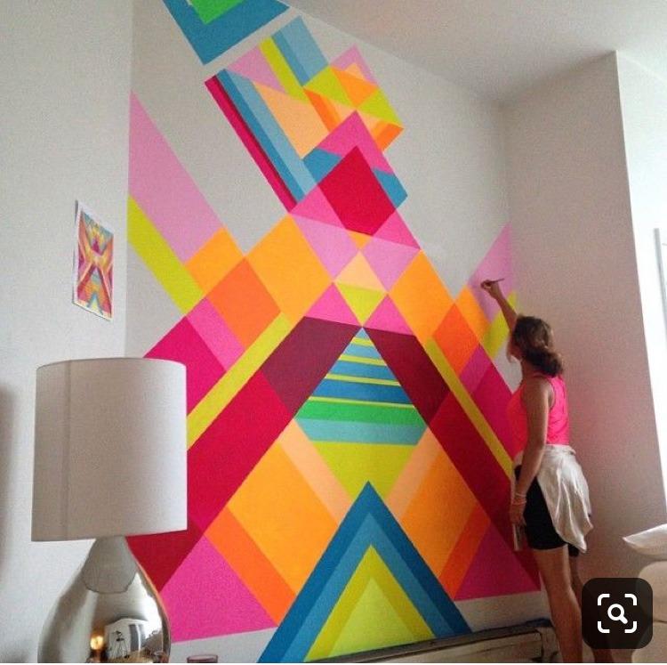 décoration, géométrique, colorée, multicolore, paris, graffeur, street artiste, street art