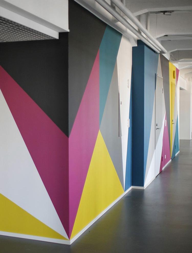 formes, géométriques, art, abstrait, murs, open space, coworking, bureaux