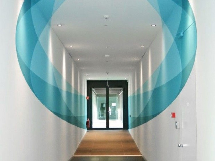 anamorphose, bleue, couloir, bureau, cercle, original