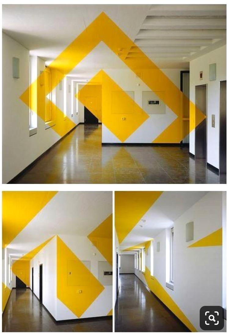 Anamorphose , jaune, décoration, bureau, art, street, géométrique