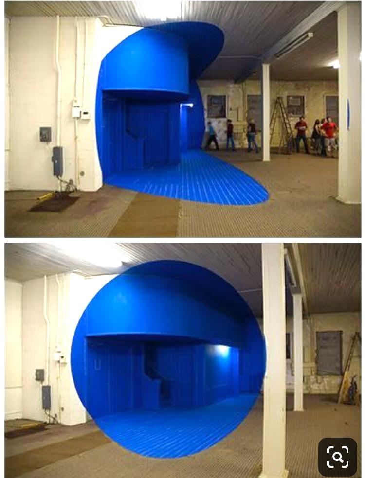 Anamorphose, bleue, art, décoration, habillage, mur, angle, trompe l'oeil