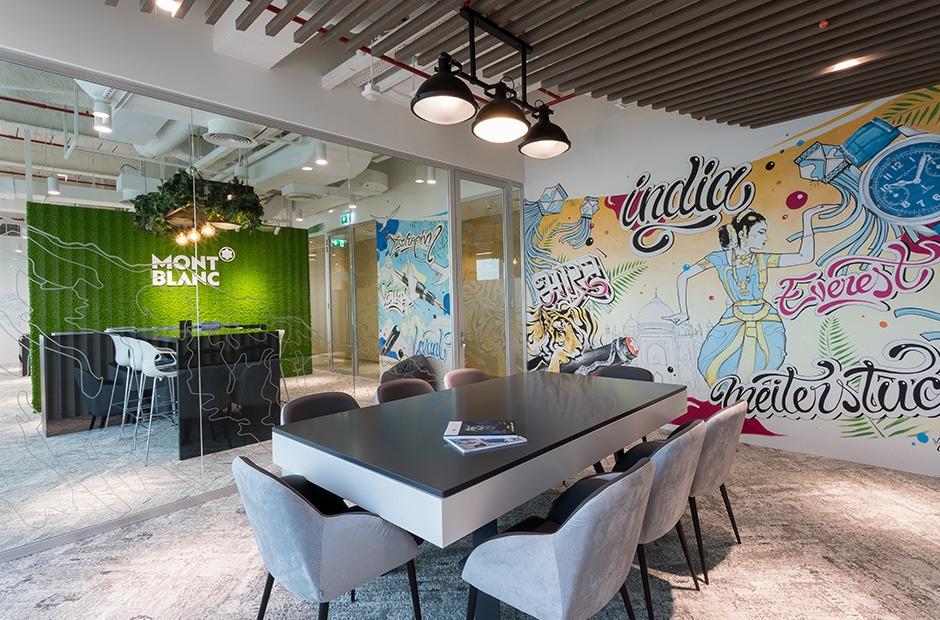 Montblanc, bureaux, aménagement, décoration, murale, graffiti