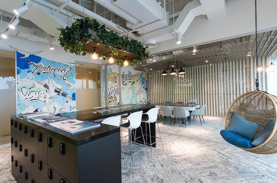 Montblanc, grafiti, décoration, déco, dubai, open space, travail, locaux , bureaux
