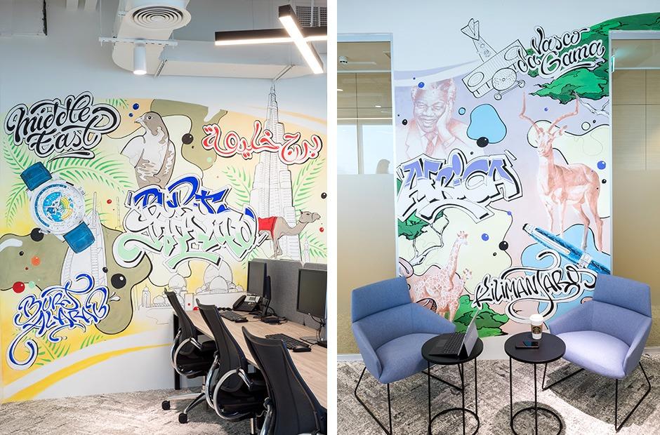 fresques, graffiti, bureaux, aménagement, architecture intérieure, déco