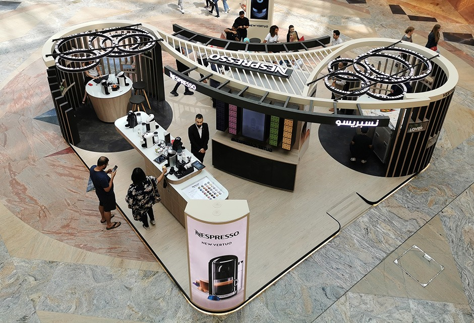 Pop Up Store, Nespresso, Dubai, Mall of Emirates, en direct, personnalisation