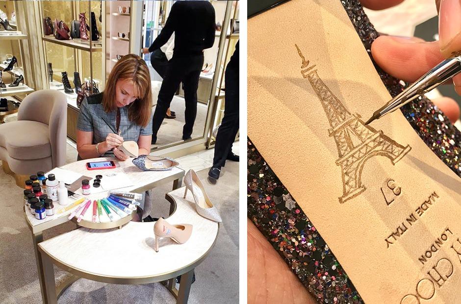 Luxe, boutique, monogrammes, Paris, Jimmy Choo, tour Eiffel