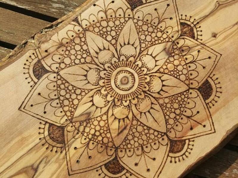 Mandala, pyrogravure, bois, art, artiste, original