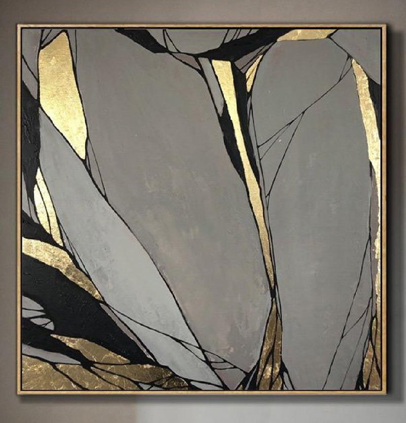 Toile, art, abstrait, doré