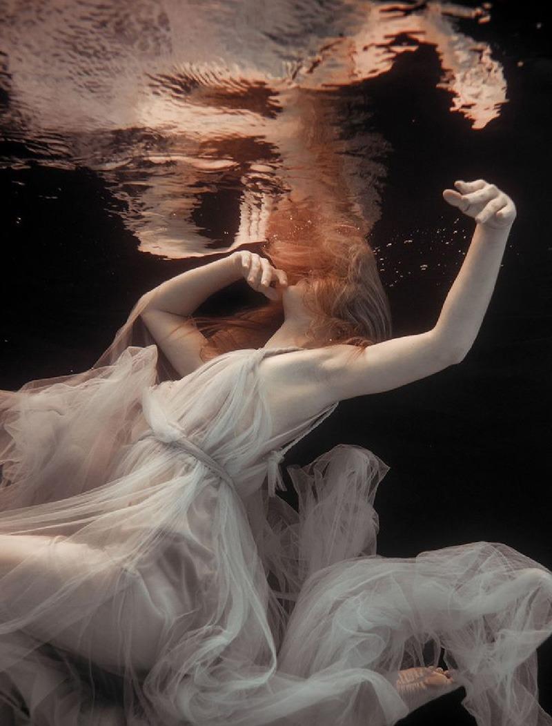 personnage, féminin, femme, noyade, photo, artistique