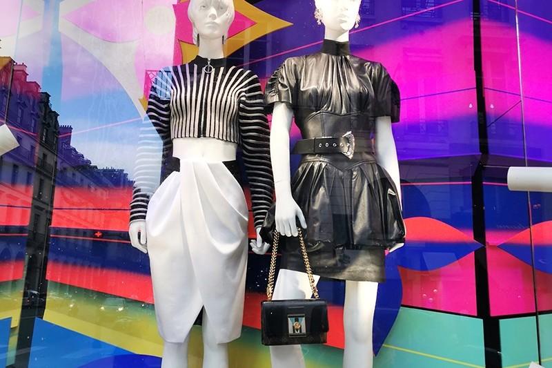 Vitrine, boutique, Louis Vuitton, mode, mannequin, aménagement.
