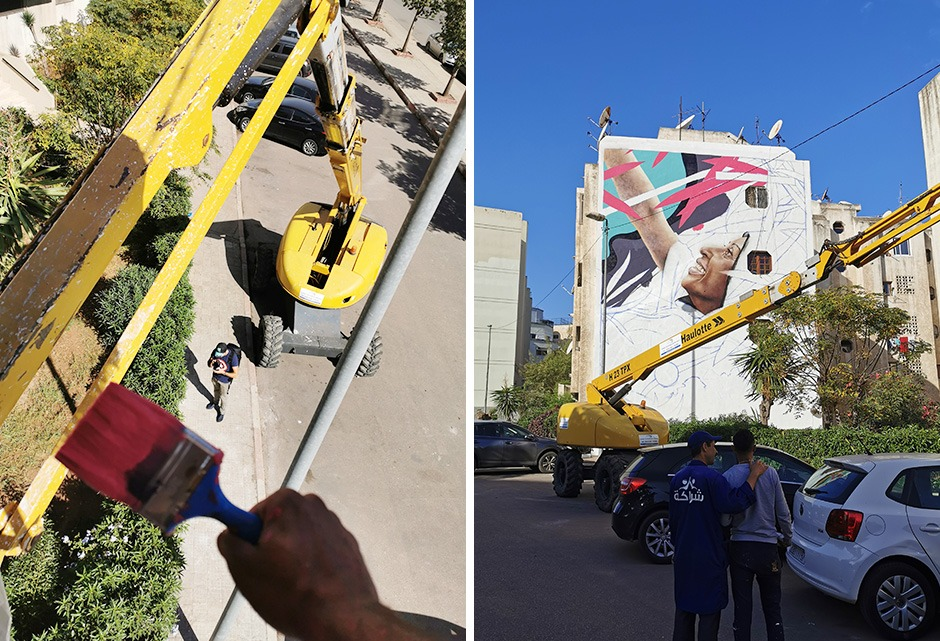 Fresque murale, Casablanca, Maroc, nacelle Elevatrice, Street Art, Art Urbain