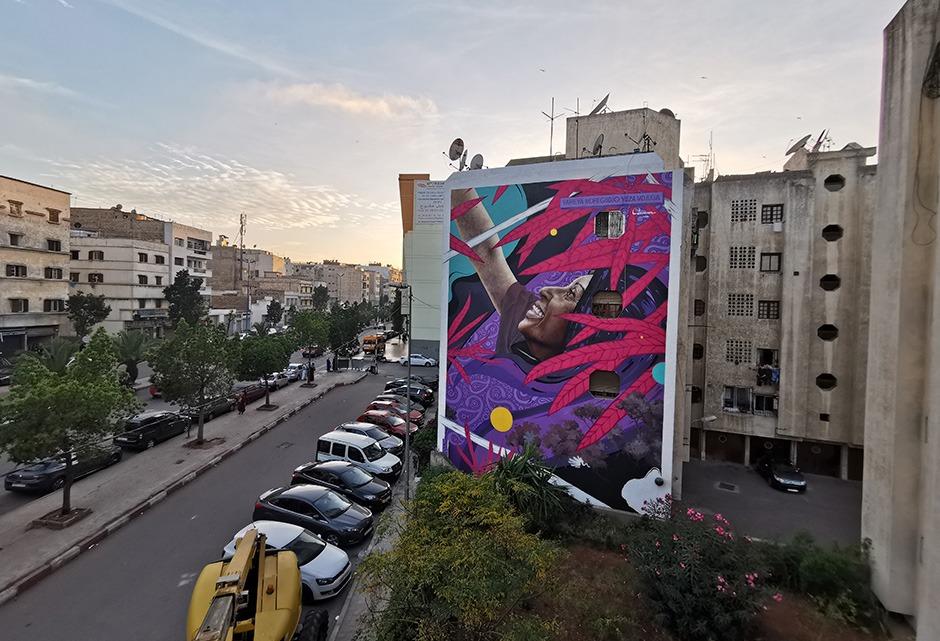 Vue, générale, globale, fresque, murale, graffiti, artiste, Paris, Casablanca