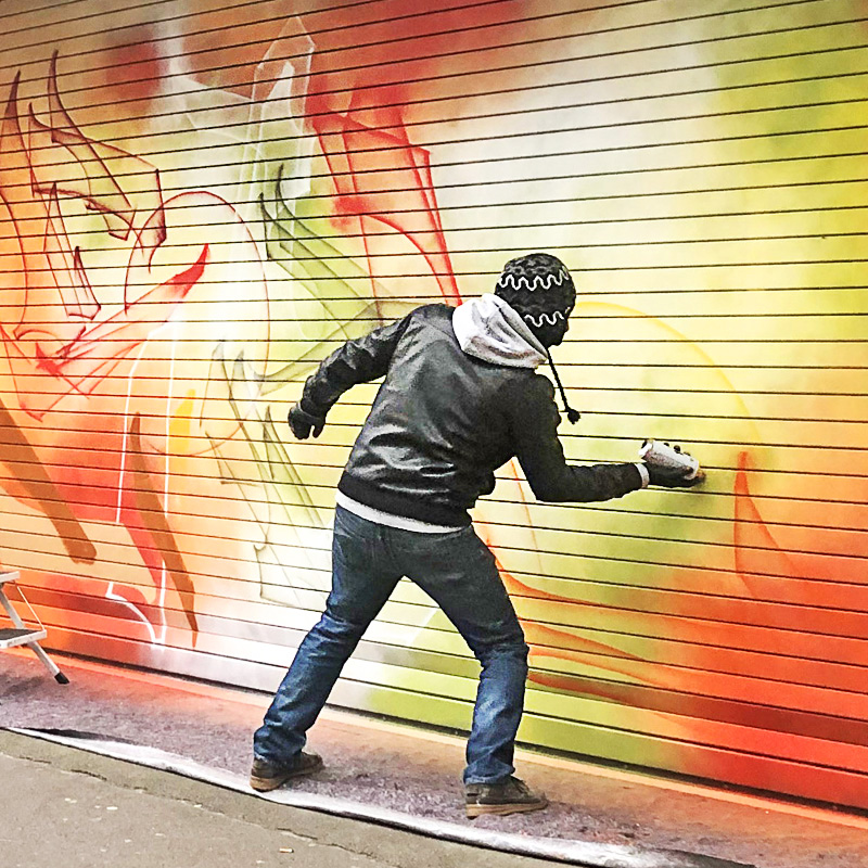 Street artiste, Paris, Graffeur, Art, Live, fresque, décoration, Murale