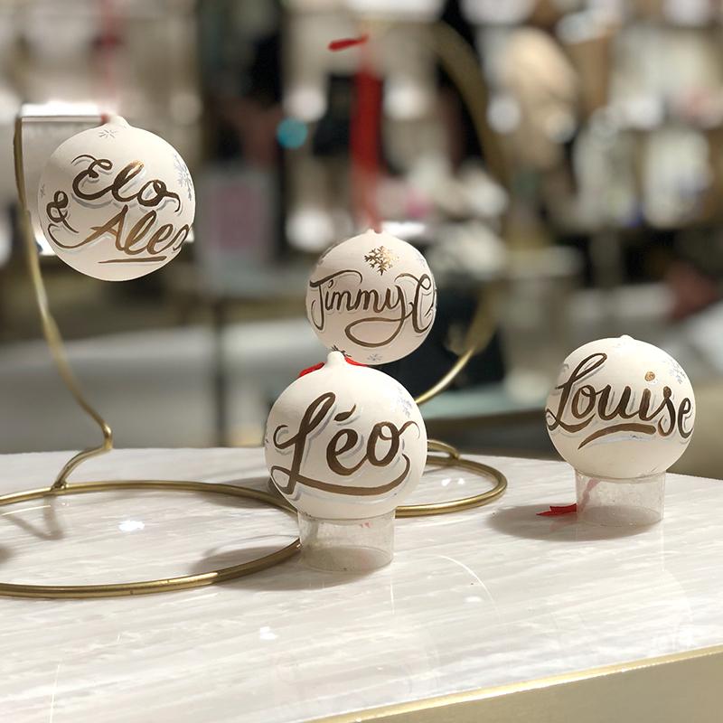 Boules, Noël, personnalisées, Jimmy Choo