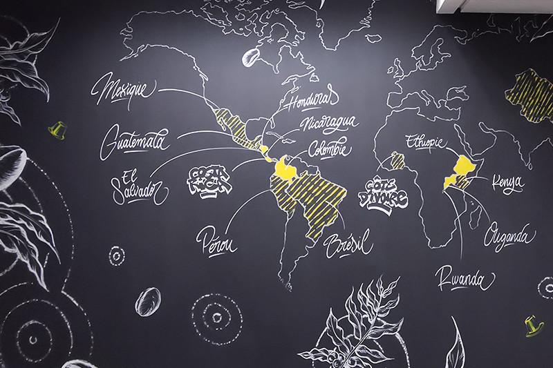 Déco, Idée, planisphère, mappemonde, Nestlé