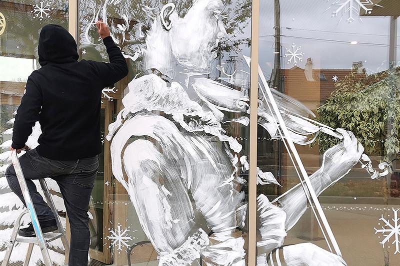 Décoration, vitrine, conservation, Noël, opération