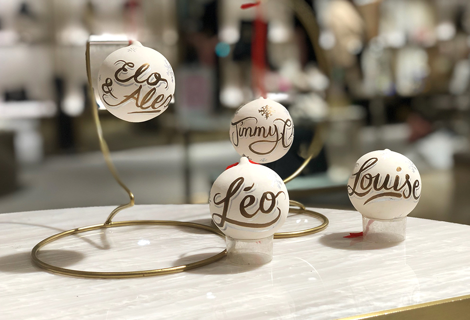 calligraphies, Jimmy Choo, marque, Noël, Boules, personnalisation