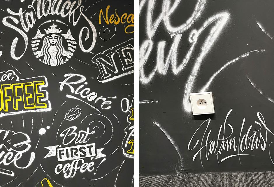 décoration, murale, bureaux, handwriting