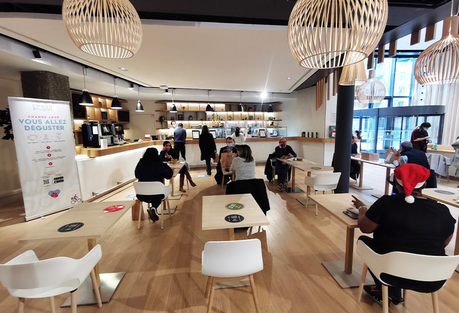 Espace, restauration, cafétéria, déjeuner, aménagement, Nestlé