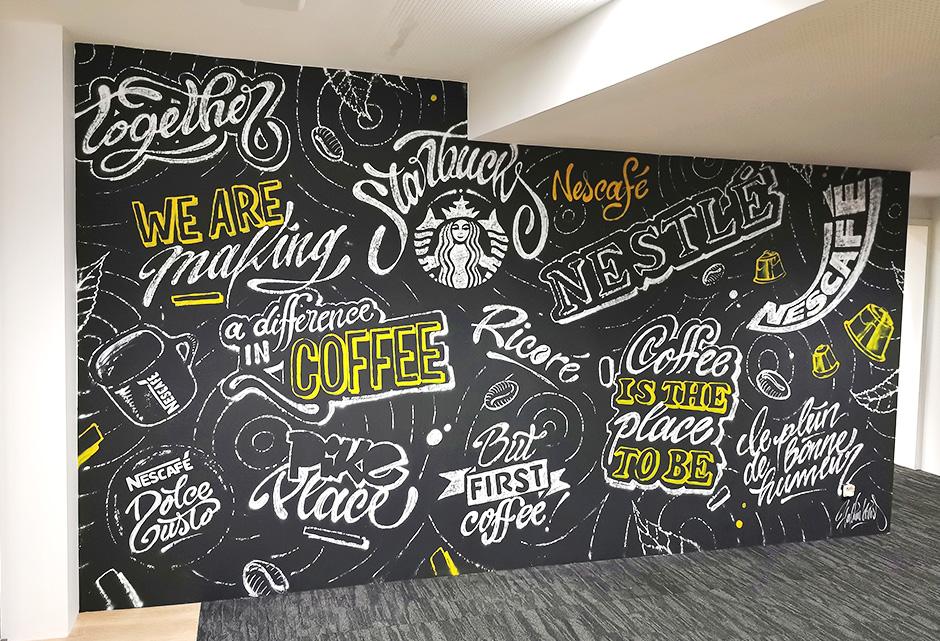 Fresque, murale, typographie, calligraphie, décoration, street art, illustration