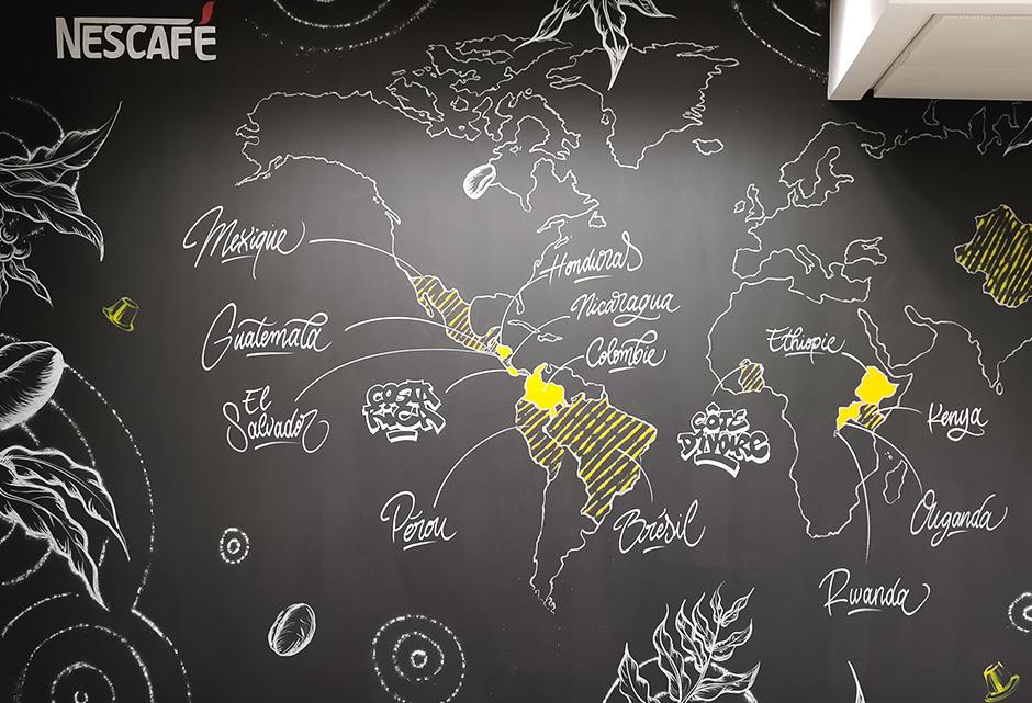 décoration, bureaux, open space, Nestlé, Street Art, graffiti, illustration, décorative