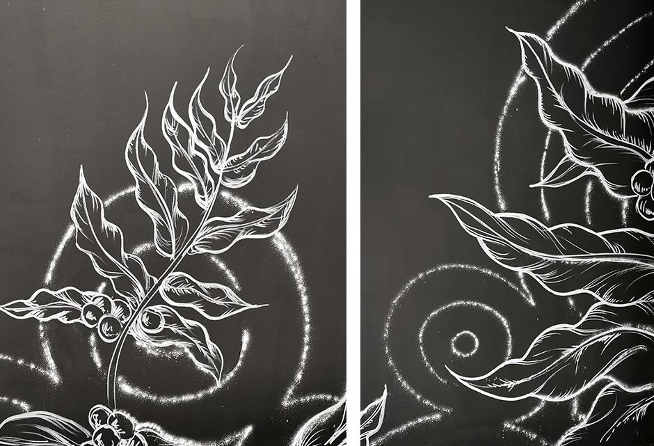 plante, caféier, déco, décoration, illustration street art, craie