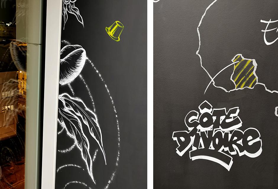 Fresque, mur, bureau, Nestlé, illustration, ardoise, tableau, craie, effet