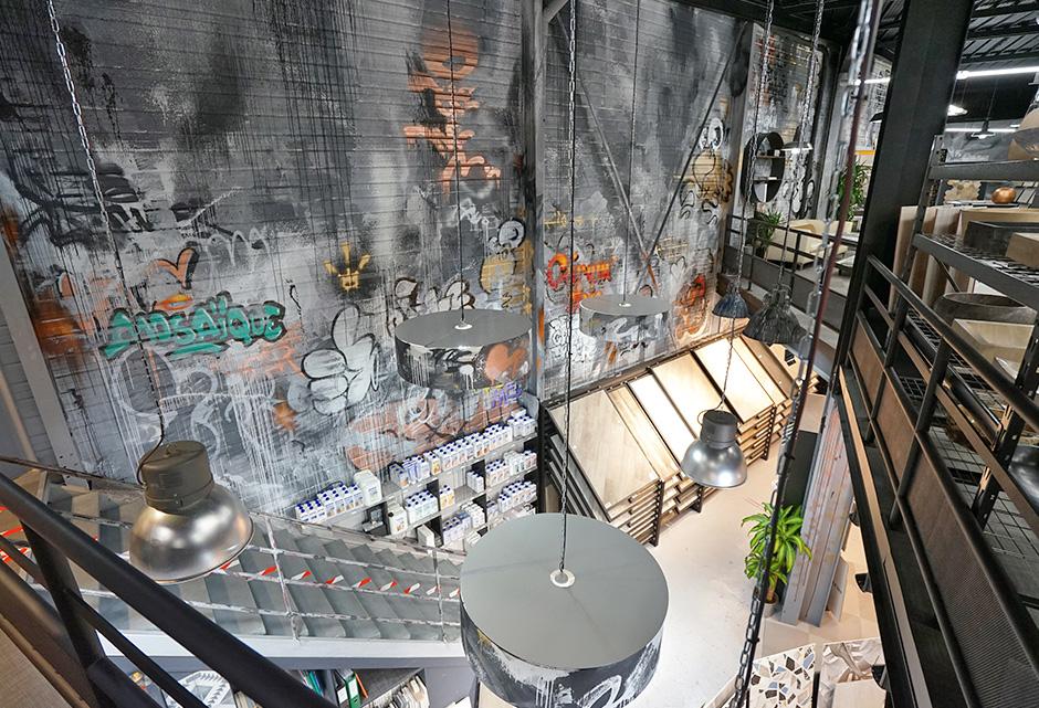 décoration, espace, de vente, graffiti, street art, urbain, idée